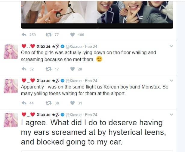 Xiaxue calls Monsta X BTS Exo derogatory terms