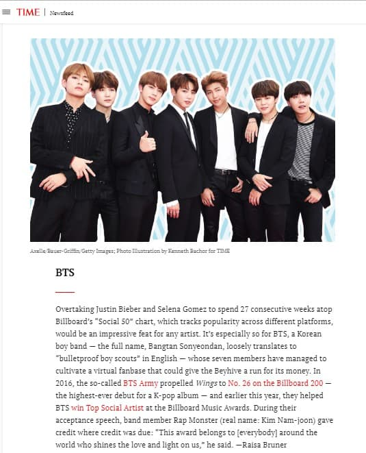 Time Magazine Includes BTS In The 25 Most Influential People On The Internet List